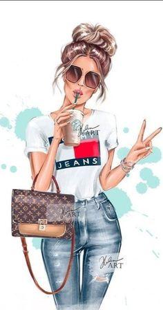 Fashion Art, Girl Fashion, Love Fashion, Mode Kimono, Girly Drawings, Cute Girl Wallpaper, Digital Art Girl, Ladies Night, Illustration Girl