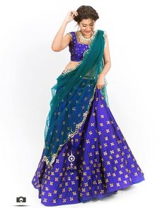 Stunning blue color designer lehenga and crop top with net dupatta. Both lehenga and blouse with hand embroidery work. 30 September 2017