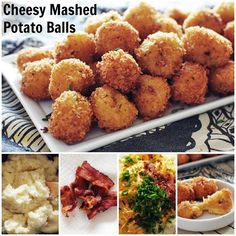 Should I tell you now that these cheesy mashed potato balls are fried? Sealed the deal. Next Packer Party snack! Potato Dishes, Potato Recipes, Cheesy Recipes, Free Recipes, Appetizer Recipes, Appetizers, Appetizer Ideas, Loaded Mashed Potatoes, Loaded Potato