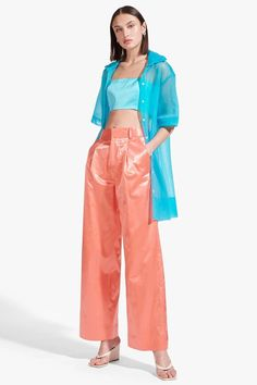 The Wilson Top is a short sleeved, sheer interlock button-up, lightweight overcoat. Bodysuit Dress, Button Up, Summer Outfits, Street Style, Bright, My Style, Pants, Blue, Clothes