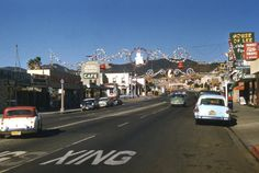"""westside-historic: """" Sunset Blvd in Pacific Palisades decorated for Christmas in the 1950s. Source: Pacific Palisades - Remember When """""""