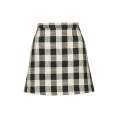 TopShop Gingham Bonded Mini Skirt (81,160 KRW) ❤ liked on Polyvore featuring skirts, mini skirts, monochrome, gingham skirt, short mini skirts, topshop, white skirt and short skirts