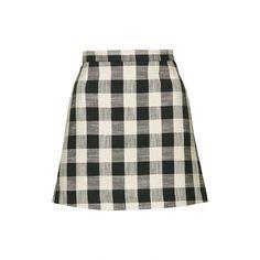 TopShop Gingham Bonded Mini Skirt (€45) via Polyvore featuring skirts, mini skirts, monochrome, short skirts, topshop, gingham skirt, white skirt and white mini skirt