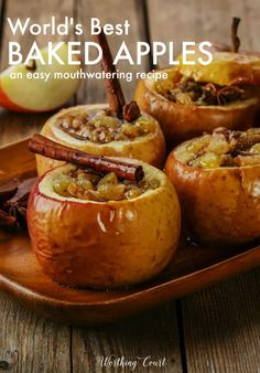Do you know how to make baked apples? You haven't experienced the world's best until you've givien this easy recipe for baked apples a try! Apple Dessert Recipes, Fruit Recipes, Fall Recipes, Gourmet Recipes, Autumn Apple Recipes, Healthy Apple Desserts, Baked Apple Dessert, Recipies, Nutritious Snacks
