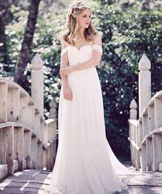 off-the-shoulder ivory layer a-line vintage floor length wedding dress sweetheart neck