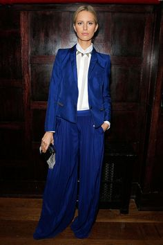 Karolina Kurkova attends a private dinner hosted by Roberto And Eva Cavalli on October 17, 2012 in New York City wearing a bright blue suit.   - ELLE.com