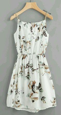 Floral Print Random Drawstring Elastic Waist Cami Dress (Try Clothes Casual) Pretty Outfits, Pretty Dresses, Women's Dresses, Beautiful Dresses, Wearing Dresses, Floral Dresses, White Floral Dress, Gorgeous Dress, Neutral Dress