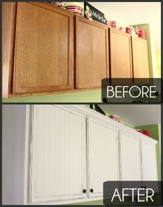 """Kitchen Cabinet Makeover! Such a difference!- would look great with the """"snookie"""" extra crown molding tute I just read!"""