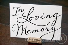 In Loving Memory Sign Table Card - Wedding Reception