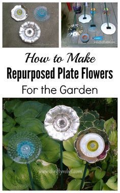 Learn how to create whimsical garden plate flowers using inexpensive thrift store items.