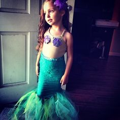such a cute little mermaid costume on a little girl u003c3  sc 1 st  Pinterest & Kids Girls Swimsuit Little Mermaid Tails Costume Bikini Swimwear ...