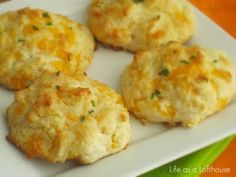 Cheddar biscuits - Ruby Tuesdays makes a version of these that my little man loves. Going to try these at home.