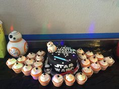 Starwars cake and cupcakes BB8