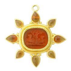 Elizabeth Locke Gold Intaglio Venetian Glass Brooch