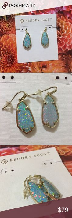 Kendra Scott Silver & Iridescent Blue Earrings Brand new with tags Kendra Scott silver earrings with light blue iridescent pendents. Please carefully review each photo before purchase as they are the best descriptors of the item. Price is firm. 10% off bundle of 2. Bundles of 3 or more are negotiable. No trades. First come, first served. Thank you! :) Kendra Scott Jewelry Earrings