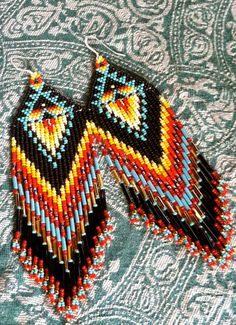 Native American Tipi Earrings by MauiWings on Etsy