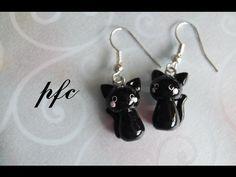 [Tuto Fimo] Boucles d'oreille Petit chat noir Plus