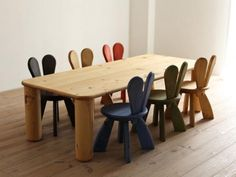 Rabbit chairs and table by Hiromatsu