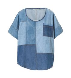 DENIM TOP PATCHWORK Zara
