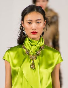 Our Favorite March Looks & Styles for Women Green Fashion, Love Fashion, Womens Fashion, Blouse Only, Fashion Details, Fashion Design, Green Peridot, Satin Blouses, Shades Of Green