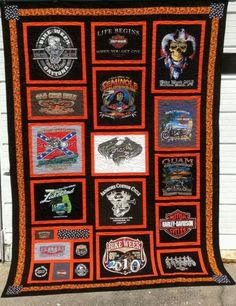 Sew T-Shirt Harley Davidson t-shirt quilt Harley T Shirts, Harley Davidson T Shirts, T-shirt Quilts, Barn Quilts, Quilting Projects, Quilting Designs, Quilting Ideas, Crochet Quilt, Quilt Making