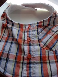 Awesome up cycled baby bibs made from adult graphic tees or toddler button down shirts. Adult dress shirts can also be used. I would find a way to make the straps longer so Velcro isn't needed.