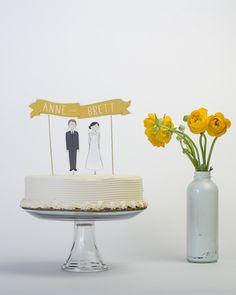 Wedding Cake Topper Set - Custom Cake Banner No. 1 / Bride and/or Groom Cake Toppers. $30.00, via Etsy.