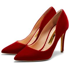 Rupert Sanderson High Heel Pumps (1,900 PEN) ❤ liked on Polyvore featuring shoes, pumps, heels, high heel pumps, pointed toe pumps, evening shoes, red evening shoes and heel pump