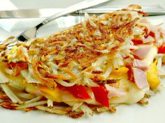 Hashbrown Omelette - so crispy outside, so cheesy & delish inside!