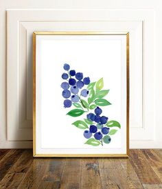 This is an original watercolor painting of blueberries, hand painted by me, the artist. It is NOT a copy or a print, you receive an authentic and unique piece of art! I painted this fruit watercolor using extra fine watercolor paints on thick, texturized watercolor paper. The size of the painting is Watercolor Water, Watercolor Art Paintings, Abstract Watercolor, Watercolor Flowers, Purple Wall Art, Colorful Wall Art, Floral Wall Art, Mail Art, Blueberries