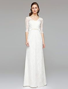 ... Neck Floor Length All Over Lace Made-To-Measure Wedding Dresses with  Beading   Sash   Ribbon   Button by LAN TING BRIDE®   Illusion Sleeve    See-Through edaa531dcdc3