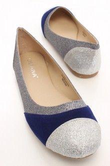 Blue Glitter Velvet Trim Flats