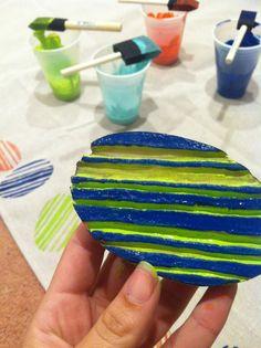 Potato+exacto knife+paint+drop cloth=picnic blanket. Hooray for potato print skills!