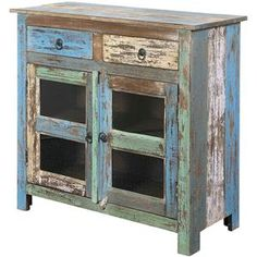 Jadu Accents Distressed Multicolor Occasional Cabinet with Two Drawers & Two Wood-Framed Glass Doors by Coast to Coast Imports