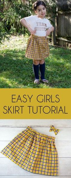 A DIY tutorial for an adorable and simple girls skirt that can be made in any size. Skirt Patterns Sewing, Skirt Sewing, Sewing Patterns Free, Free Sewing, Pattern Sewing, Baby Patterns, Girls Skirt Tutorial, Diy Tutorial, Sewing Blogs