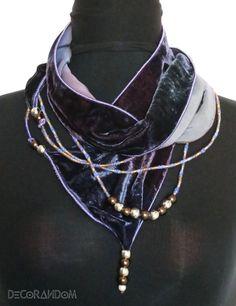 velluto viola,sciarpa velluto,collana maxi viola,velluto cangiante,scalda…