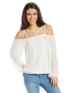 XOXO Women's Long Sleeve Cold Shoulder Embroidered Peasant T-Shirt