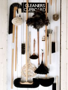 The brooms and brushes range from ostrich feather dusters and goat's-hair parquet-floor brooms to copper-wire barbecue scrubbers and horsehair cobweb brooms. Homemade Cleaning Products, Natural Cleaning Products, Cleaning Closet, Cleaning Hacks, Cleaning Cupboard, Brooms And Brushes, Green Life, At Home Store, Sustainable Living