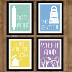 Kitchen Collection -- Set of Four 8x10's -- PRINTABLE, DIGITAL -- Kitchen Art -- CHEVRON