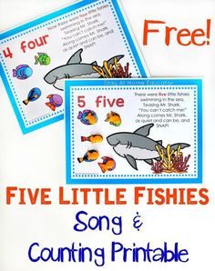 Five Little Fishies Song and Free Counting Printable - My preschoolers adore this song and counting activity. There's nothing like hearing their sweet little voices singing away as they do preschool math! Preschool Music, Preschool Themes, Preschool Printables, Preschool Lessons, Preschool Activities, Preschool Quotes, Zoo Preschool, Kindergarten Music, Children Activities