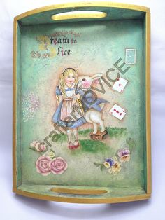 Alice in Wonderland decorative painting wood tray, with layout compiled by myself. Fb: facebook.com/crafternovice YT: youtube.com/c/crafternovice Blog: http://crafternovice.blogspot.hk