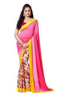 Charming Floral Printed Designer Hot Pink Chiffon Saree D-104