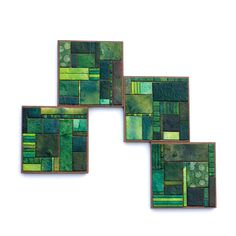 Green Coasters Handmade Paper Mosaic Coasters Geometric by calyrew  I think these are BEAUTIFUL!!