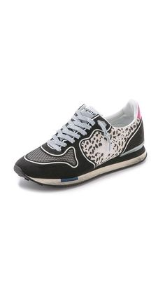 GOLDEN GOOSE Running Sneakers. Microsuede Golden Goose sneakers sport a retro-athletic profile. Textured mesh accents the toe, and leopard-print panels offer a graphic touch. Lace-up closure. Dirtied foam sidewall and rubber sole.  Made In Italy.