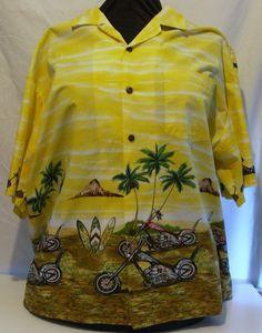 Hawaiian Shirt DJ Motorcycles Surfboards Palm Trees Vintage 56 in. chest #DJ #Hawaiian