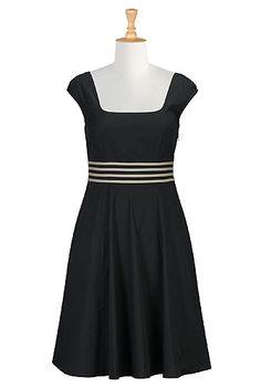 Banded stripe waist poplin dress