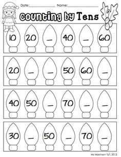 Counting by Tens - Christmas and Winter Themed Literacy and Math (worksheets and centers) 100+ pages K-1