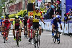 Race leader Ryan Gibbons celebrates victory on stage 5 of the Tour de Langkawi