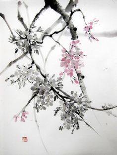Cherry Blossom2 Japanese Ink Painting on Rice Paper by Suibokuga, €48.00
