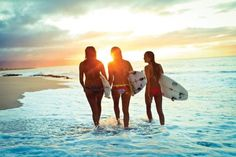 beach, girls, summer, surf